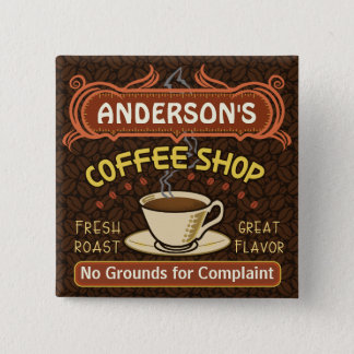Coffee Shop with Mug Create Your Own Personalized Button