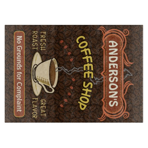 Coffee shop with mug create your own personalized cutting for Make your own chopping board