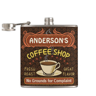 Coffee Shop with Mug Create Your Own Personalized Flask