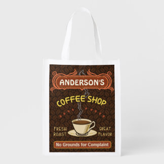 Coffee Shop with Mug Create Your Own Personalized Grocery Bag