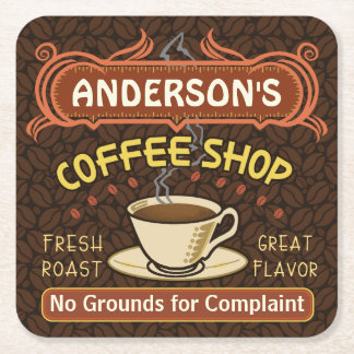 Coffee Shop with Mug Create Your Own Personalized Square Paper Coaster