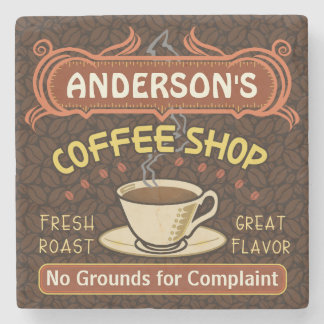 Coffee Shop with Mug Create Your Own Personalized Stone Beverage Coaster