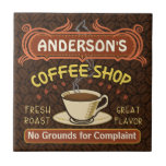 """Coffee Shop with Mug Create Your Own Personalized Tile<br><div class=""""desc"""">This coffee-themed tile is perfect for anyone who runs their own coffee shop or has a coffee theme in their home kitchen decor. Done in retro brown, orange, beige and yellow, this espresso / cappuccino inspired design features a cup on a saucer, two personalized text banners and the words &quot;Coffee...</div>"""
