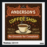 """Coffee Shop with Mug Create Your Own Personalized Wall Sticker<br><div class=""""desc"""">This coffee-themed wall decal is perfect for anyone who runs their own coffee shop or has a coffee theme in their home kitchen decor. Done in retro brown, orange, beige and yellow, this espresso / cappuccino inspired design features a cup on a saucer, two personalized text banners and the words...</div>"""