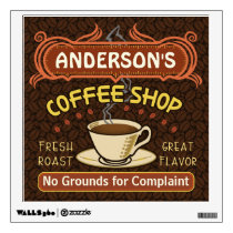 Coffee Shop with Mug Create Your Own Personalized Wall Sticker