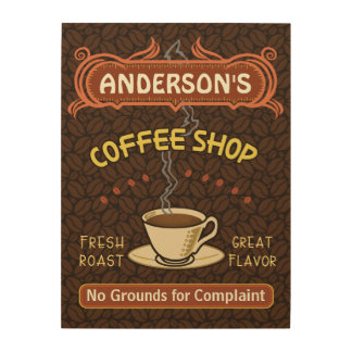 Coffee Shop with Mug Create Your Own Personalized Wood Wall Decor