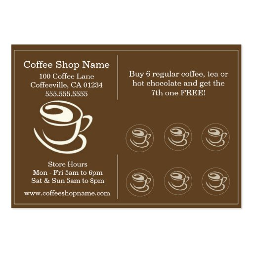 Coffee shoppe punch cards business card zazzle for Business card shop