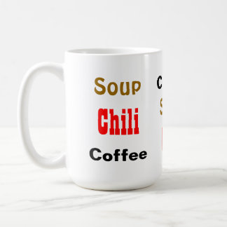 Coffee Soup Chili Funny Food Word Pattern Coffee Mug
