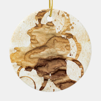 Coffee spills - Cool hand-made coffee spill design Ceramic Ornament