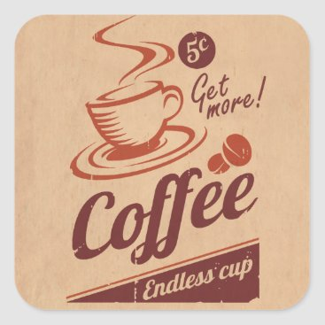 Coffee Themed Coffee Square Sticker