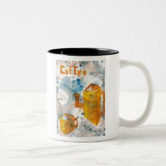 Coffee Squared - cricketdiane folksy coffee art Two-Tone Coffee Mug