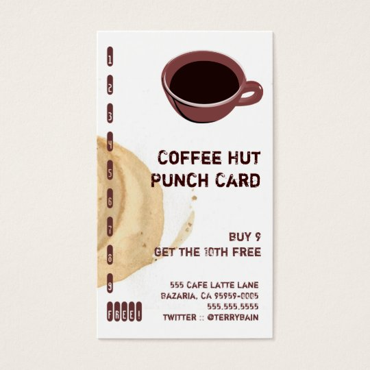 Coffee Stain and Cup Drink Punch Card