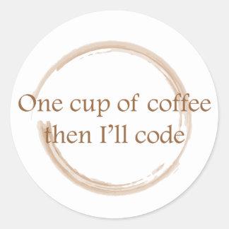 Coffee stain classic round sticker