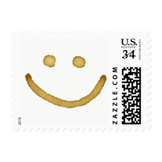 Coffee stain happy smiley face postage stamp