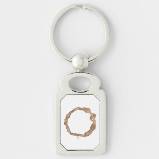 Coffee Stain Pattern Silver-Colored Rectangular Metal Keychain