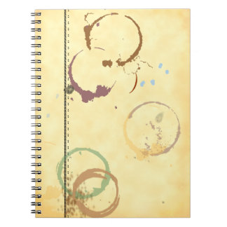 Coffee Stain Typeart Grunge Faux-Parchment Pattern Spiral Notebook
