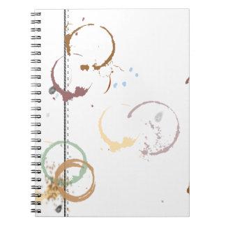 Coffee Stain Typeart Grunge Pattern Spiral Notebooks