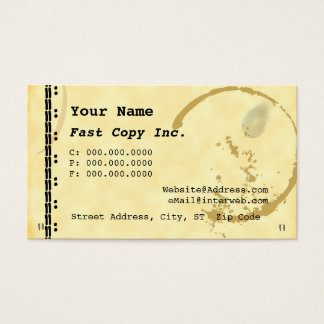 Coffee Stain Typewriter Grunge Business Cards