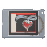 Coffee Stained Valentine, Red and Pink Swirl Heart iPad Mini Case