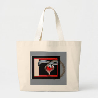 Coffee Stained Valentine, Red and Pink Swirl Heart Large Tote Bag