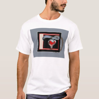 Coffee Stained Valentine, Red and Pink Swirl Heart T-Shirt