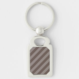 Coffee Stripe Design Silver-Colored Rectangular Metal Keychain