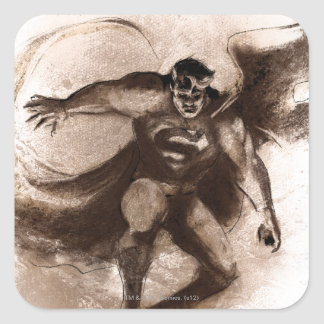 Coffee Superman Square Stickers