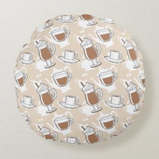 Coffee, sweet pattern round pillow