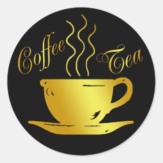COFFEE & TEA CLASSIC ROUND STICKER