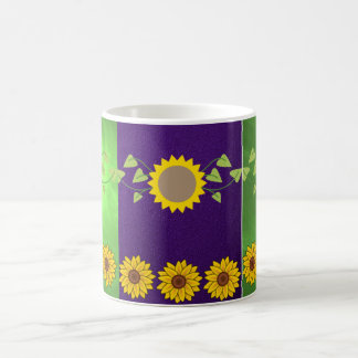 coffee tea lovers mug blue green sunflowers