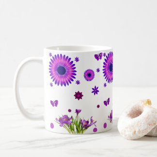coffee tea lovers purple flowers white mug