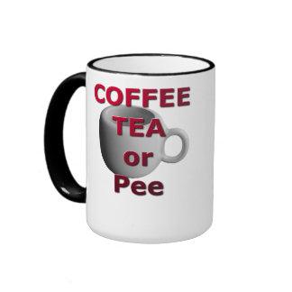 Coffee, Tea or Pee Ringer Mug