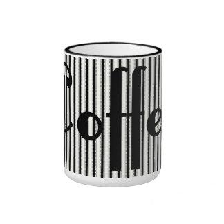 Coffee Text and Ticking Stripes Mug