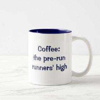Coffee: the pre-run runners' high Two-Tone coffee mug