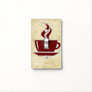 Coffee Theme Floral Background Light Switch Cover