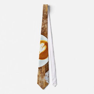 Coffee Themed, Perfecto Cappuccino Heart  Latte Fo Neck Tie
