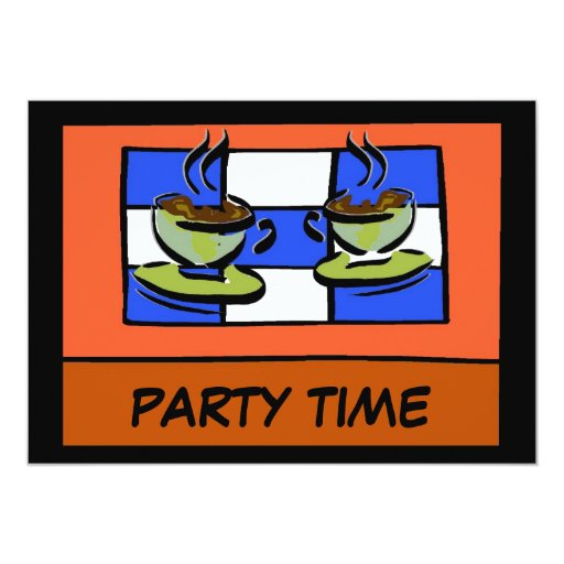 "Coffee Time 2, PARTY TIME 5"" X 7"" Invitation Card"