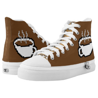 Coffee Time 8-bit Sneakers Printed Shoes