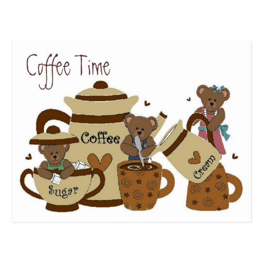 Coffee Time Bear Postcard
