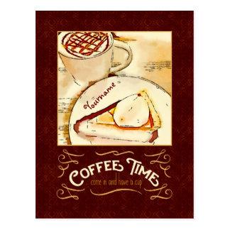 Coffee Time Caramel Macchiato Pumpkin Pie Teatime Postcard