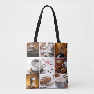 Coffee Time Collage Tote Bag