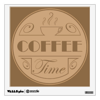 Coffee time emblem wall sticker