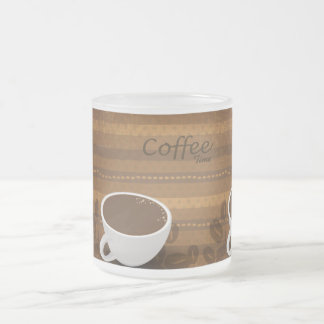 Coffee Time Frosted Glass Coffee Mug