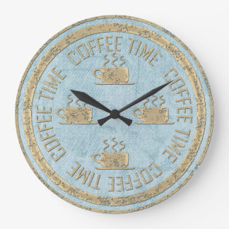 Coffee Time Gold on Pastel Blue Large Clock