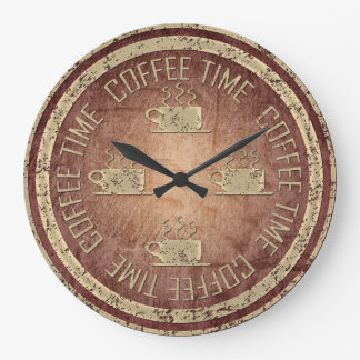 Coffee Time Gold on Red Large Clock