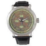 Coffee Time Green on Rust Wrist Watches