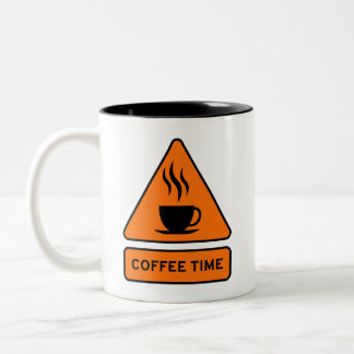 Coffee Time Hazard Sign Two-Tone Coffee Mug