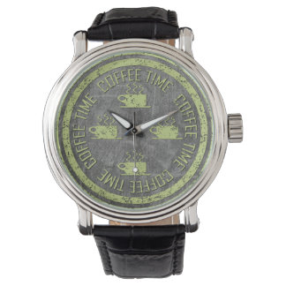 Coffee Time Lime Green on Charcoal Watch