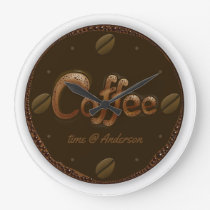Coffee Time Personalized Large Clock