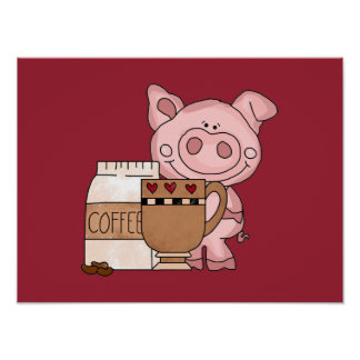 Coffee Time Piggy Poster